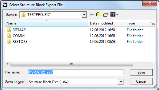 enter export file